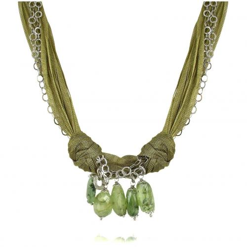 Daco Milano Halskette mit zahlreichen Bändern und grünen Edelsteinen