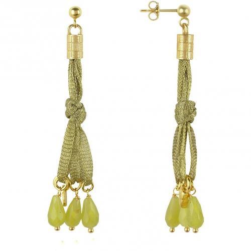 Daco Milano Ohrringe aus Sterlingsilber und Bändern mit Jadesteinen
