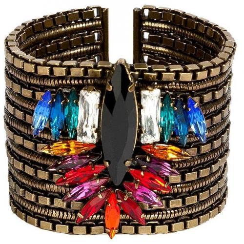 Dannijo Brass-Multi Crystal Embellished Cuff Armband
