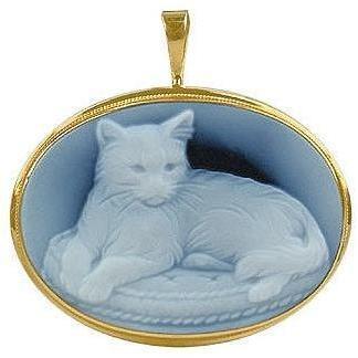 Del Gatto Achat Muschelkameeanhänger/-brosche mit Katzenmotiv Oval