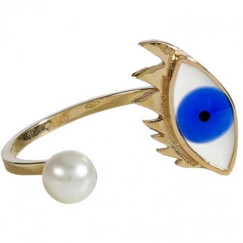 Delfina Delettrez Gold/Pearl Eye Ring