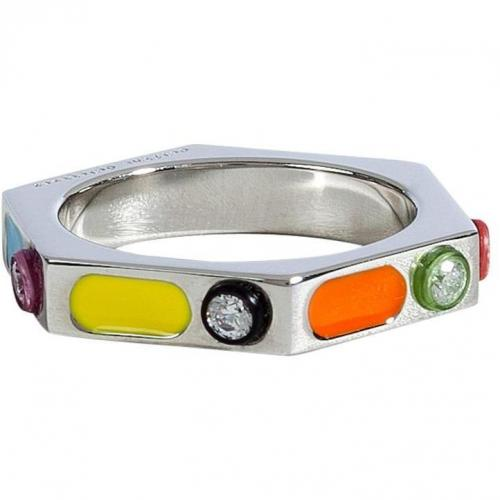 Delfina Delettrez Silver/Enamel Ray of Light Ring with Zircon