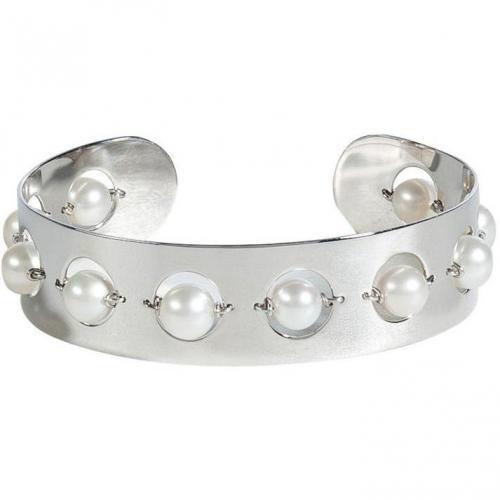 Delfina Delettrez Silver/Pearl Little Roll In Stones Cuff Armband