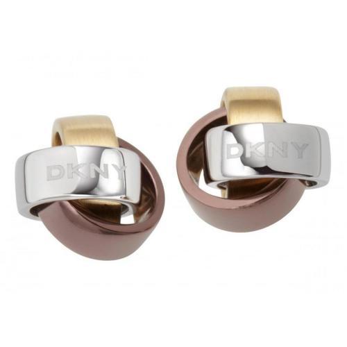 DKNY Damen-Ohrringe Braun Gold Silber