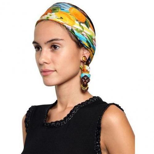 Dolce & Gabbana Clip-On-Ohrringe mit Handbemalten Köpfen black