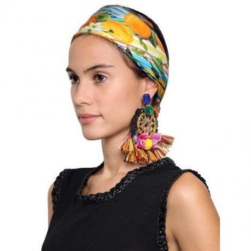 Dolce & Gabbana Clipohrringe aus Raffia und Pompon