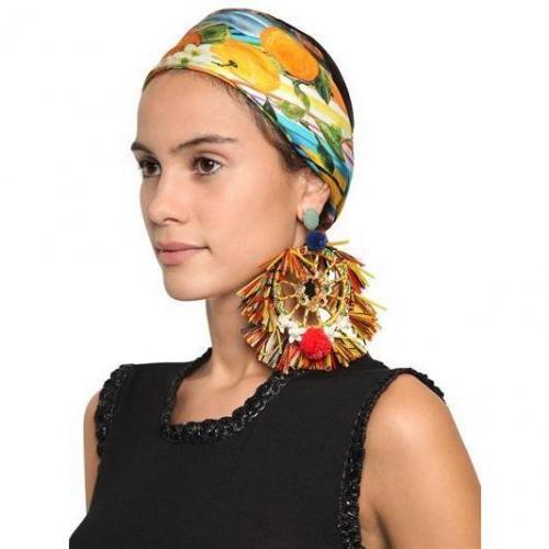 Dolce & Gabbana Ohrringe aus Pompon und Raffia