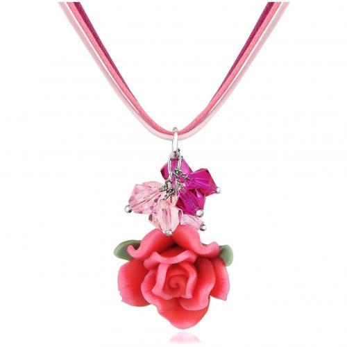 Dolci Gioie Halskette mit Rosenanhänger Rot