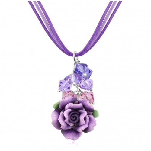 Dolci Gioie Halskette mit Rosenanhänger Violett