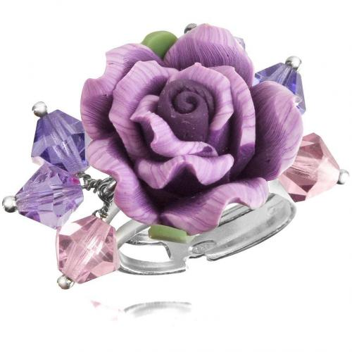 Dolci Gioie Ring mit Rose aus Sterlingsilber