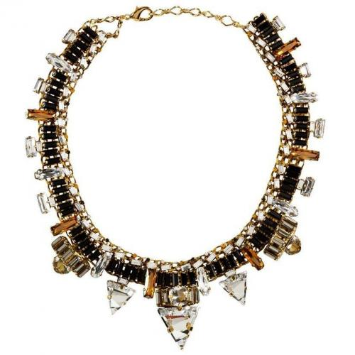 Erickson Beamon Gold-Plated Xenon Halskette with Jet Black Crystals