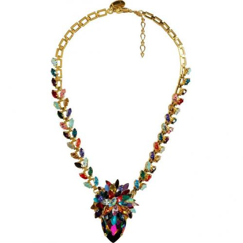 Erickson Beamon Rainbow Iridescent Crystal Gold-Plated Pendant Halskette