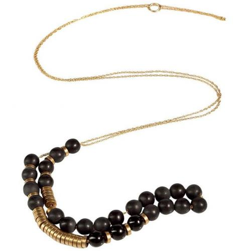 Etten Eller Gold Black Pearl and Brass Nut Halskette