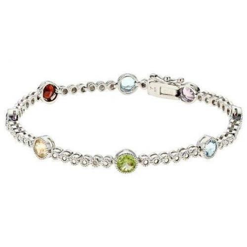 Fabiani Armband Sterling Silber 925 Diamant Amethyst Citrin Peridot Garnet Blautopas