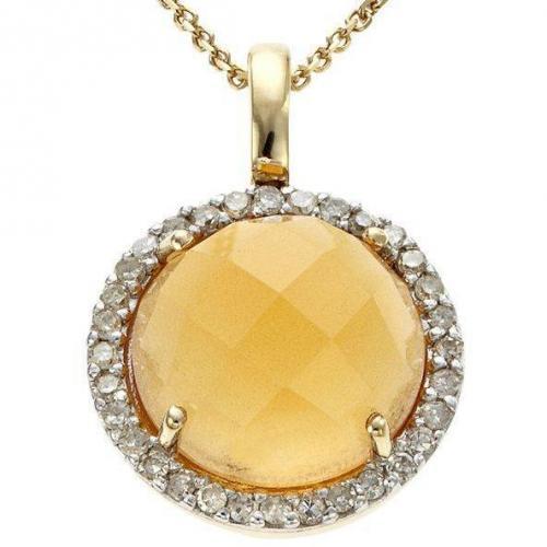 Fabiani Diamant-Anhänger m. Kette Gold 333 Citrin