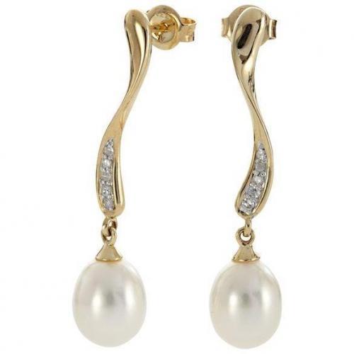 Fabiani Diamant-Ohrhänger Gold 333 Süßwasser-Zuchtperle