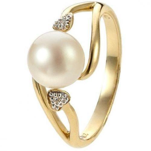 Fabiani Diamant-Ring Gold 333 Süßwasser-Zuchtperle