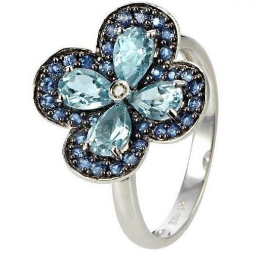 Fabiani Diamant-Ring Weissgold 333 Saphir Blautopas