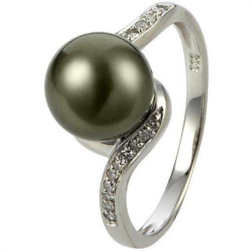 Fabiani Diamant-Ring Weißgold 333 Tahiti-Zuchtperle