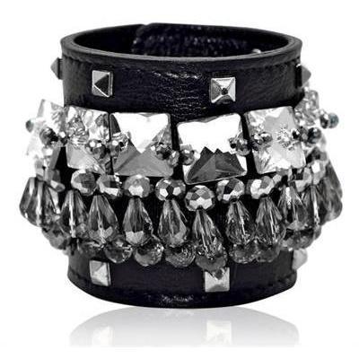 Gedebe Bijoux und Nieten Leder Armband
