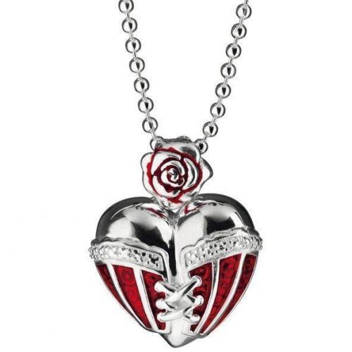 Heartbreaker Kette mit Anhänger Herz in Korsage rot