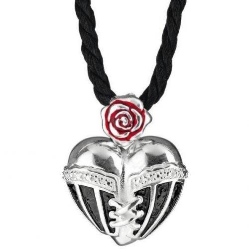 Heartbreaker Kette mit Anhänger Herz in Korsage schwarz
