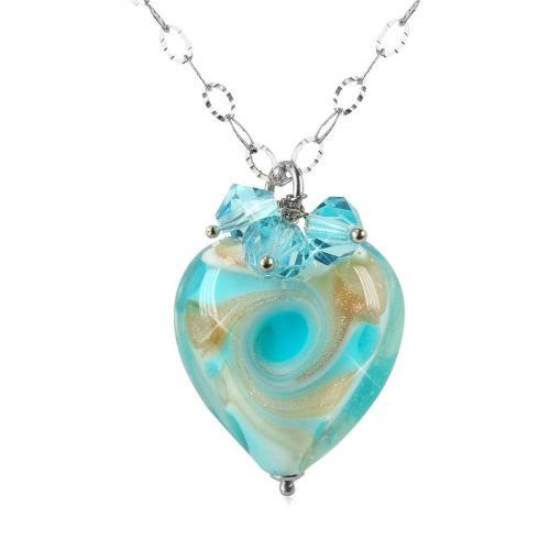 House of Murano Vortice Halskette aus Sterlingsilber und Muranoglas in türkis