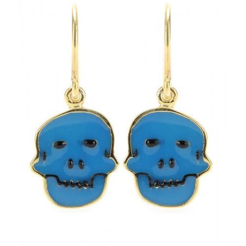 House of Waris Vergoldete Totenkopf-Ohrhänger mit Emaille Blau