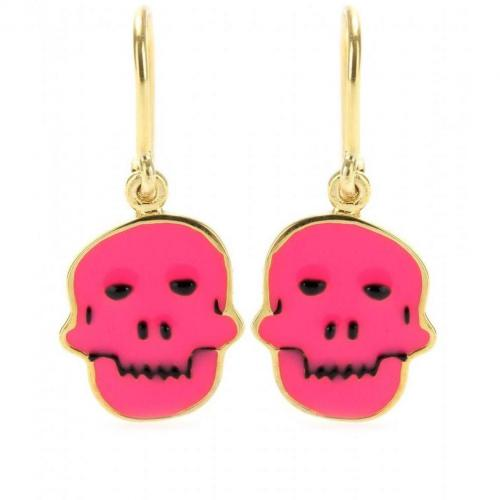 House of Waris Vergoldete Totenkopf-Ohrhänger mit Emaille Pink