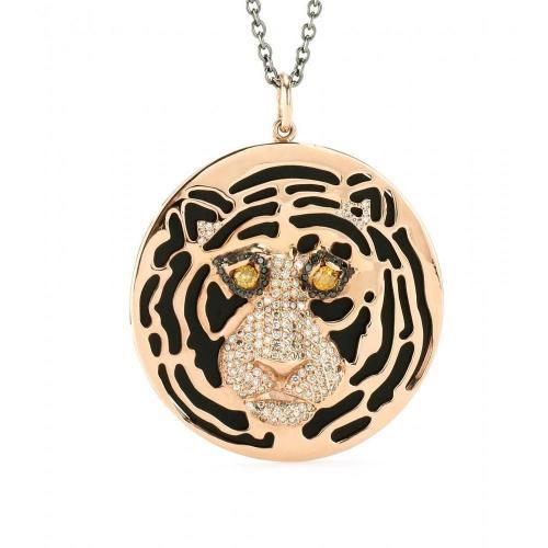 Ileana Makri 18kt Roségold African Tiger Anhänger mit Onyxen und Schwarzen, gelben und braunen Diamanten