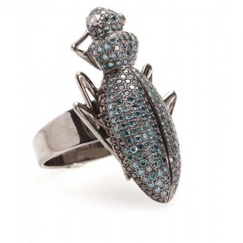Ileana Makri Beetle 18kt Roségold Ring mit blauen und Schwarzen Diamanten