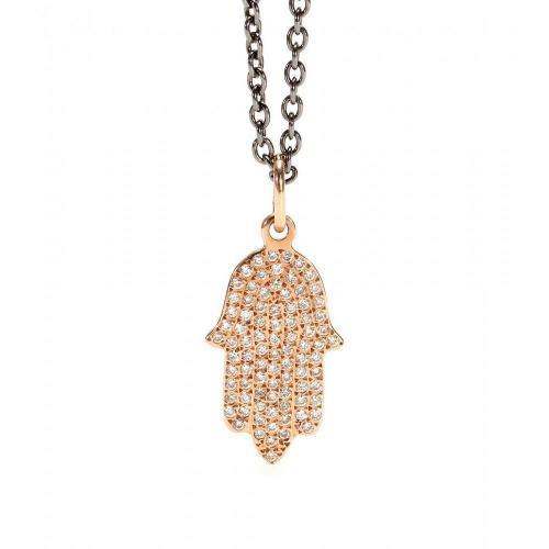 Ileana Makri Fatima Hand 18kt Roségold Anhänger mit braunen Diamanten