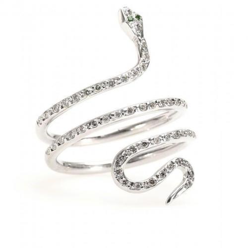 Ileana Makri Single Python 18kt weißgold Ring mit weißen Diamanten und Tsavoriten