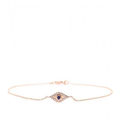 Ileana Makri Wisdom 18kt Rotgold Armkette mit weißen Diamanten und Blauem Saphir