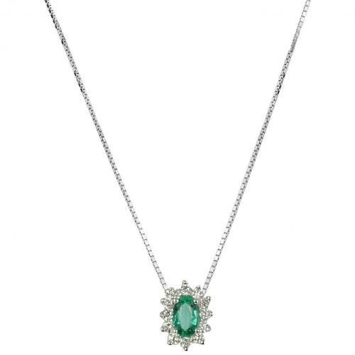 Incanto Royale Halskette aus 18k Gold mit Diamanten und Smaragd Grünblau