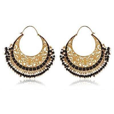 Isharya Mond Bali Hoop schwarze Onyx Ohrringe