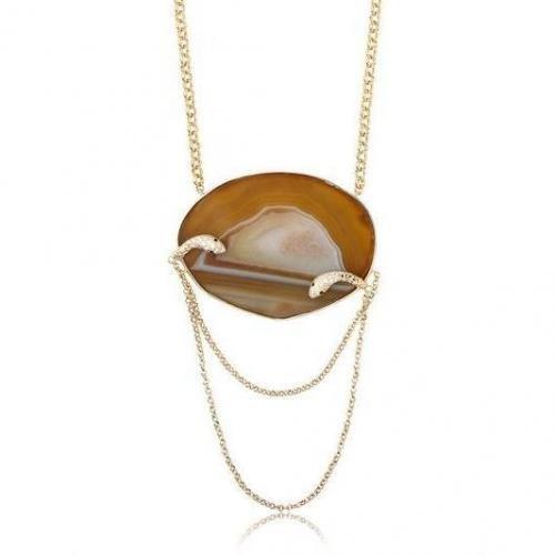 Isharya Schlangen-Halskette mit Druse braun