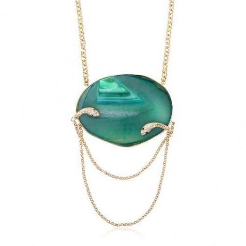 Isharya Schlangen-Halskette mit Druse türkis