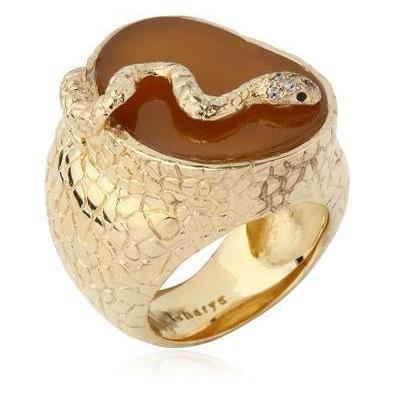 Isharya Schlangenring aus Acaht und Messing braun