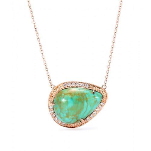 Jacquie Aiche Halskette aus 14kt Roségold mit Chrysopras und weißen Diamanten