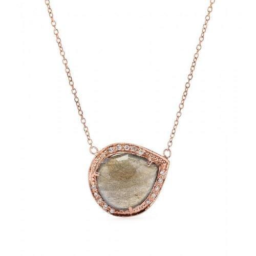 Jacquie Aiche Halskette aus 14kt Roségold mit Labradorit-Anhänger mit weißen Diamanten