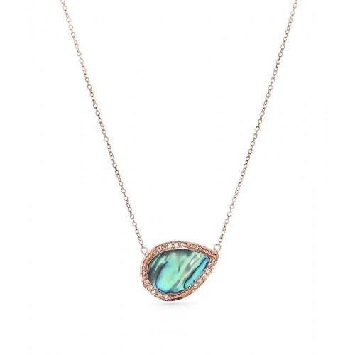 Jacquie Aiche Halskette aus 14kt Roségold mit Perlmutt-Anhänger mit weißen Diamanten