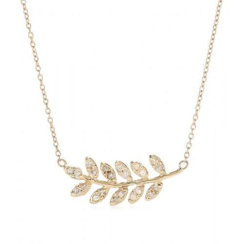 Jacquie Aiche Halskette Large Leaf aus 14kt Gelbgold mit weißen Diamanten