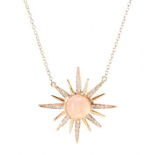 Jacquie Aiche Halskette Starburst aus 14kt Rotgold mit weißen Diamanten und Mondstein