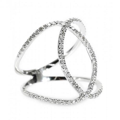Jacquie Aiche Overlap Circle Eternity Ring aus 14kt weißgold mit Pavéegefassten Diamanten