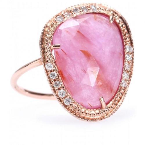 Jacquie Aiche Ring aus 14kt Roségold mit Pavéegefassten weißen Diamanten und Glasgefülltem Rubin