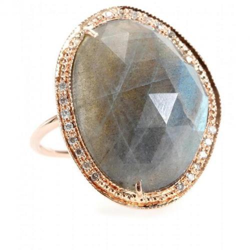 Jacquie Aiche Ring aus 14kt Roségold mit Pavéegefassten weißen Diamanten und Labradoritstein
