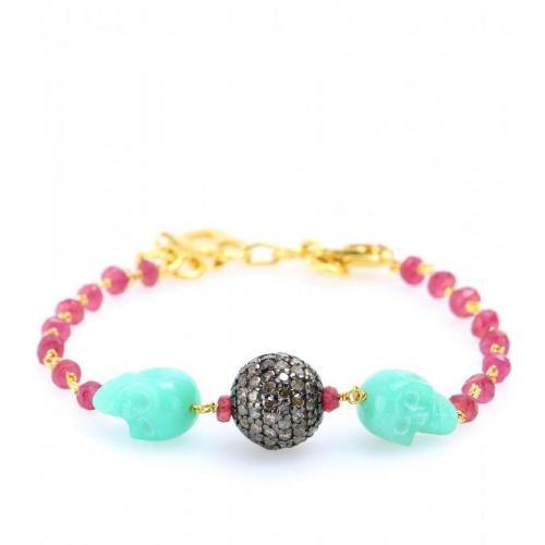 Jade Jagger Ruby Disco Armband mit Rubinen, Chrysoprasen und Diamanten