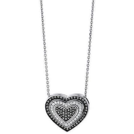 Jette Silber Collier Black Heart