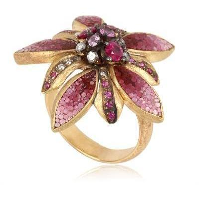 Le Sibille Sapphire and Ruby Margot Floral Ring